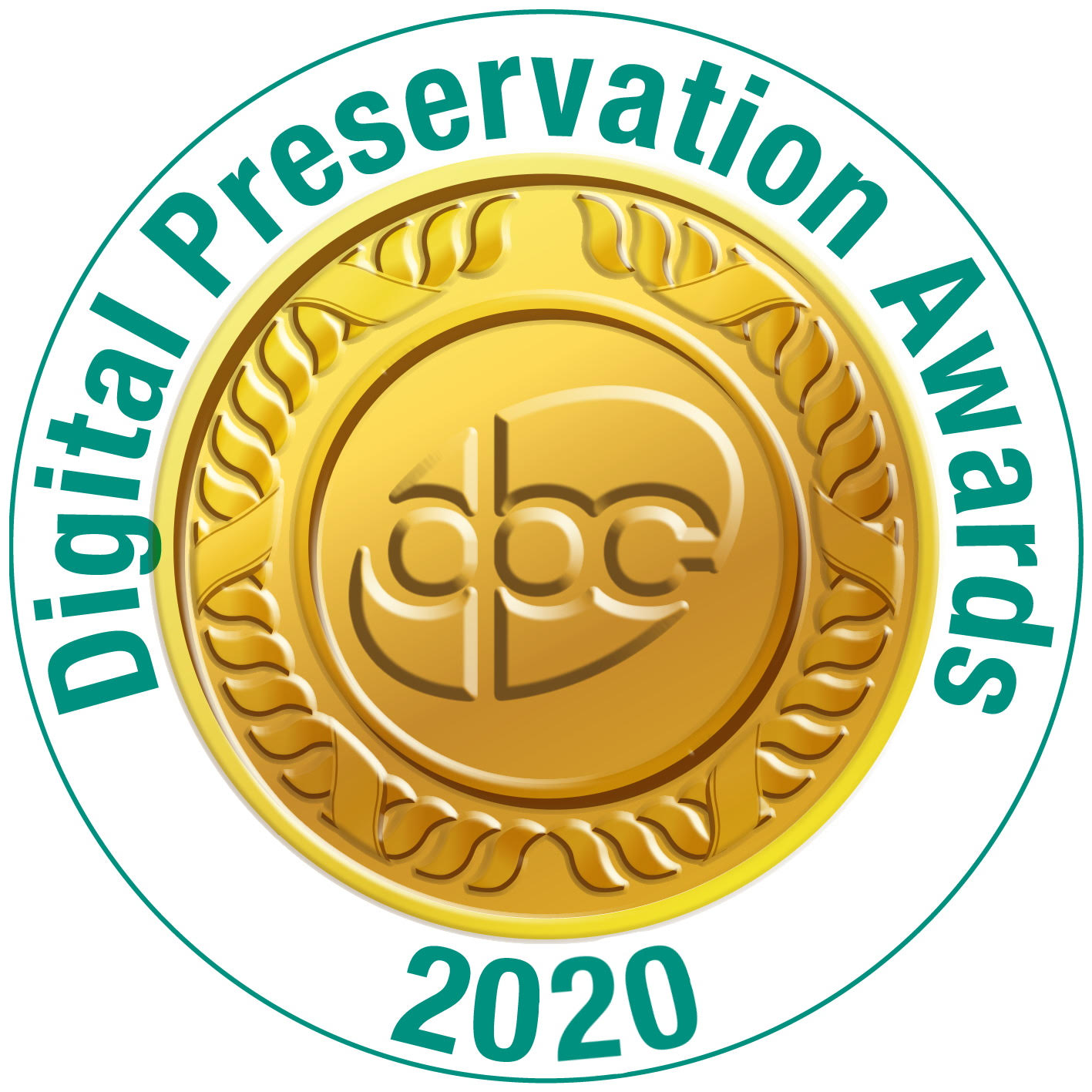 A gold DPC seal with Digital Preservation Awards 2020 encircling it.